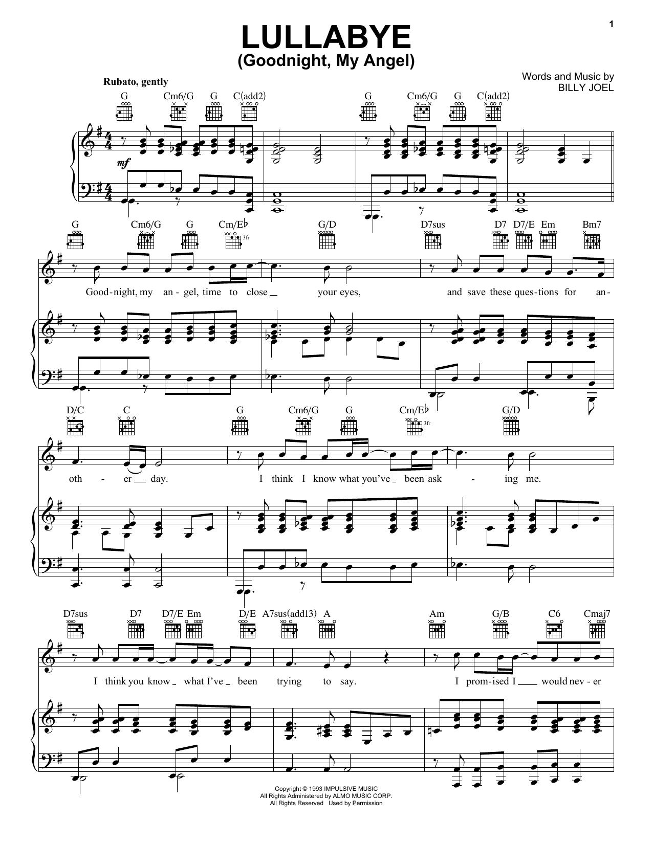 Billy Joel Lullaby Sheet Music : billy, lullaby, sheet, music, Lullabye, (Goodnight,, Angel), Sheet, Music, Billy, Piano/Keyboard, Voice, Noteflight, Marketplace