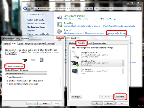 listen to mic feedback in windows 7