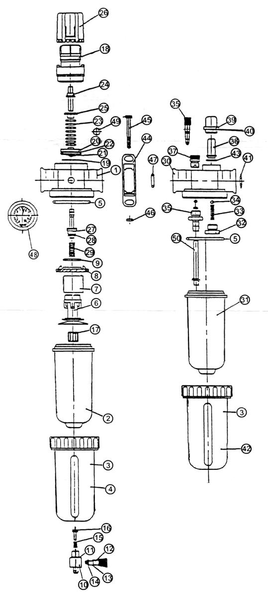Regulator/Filter/Lubricator, Combination Air Line