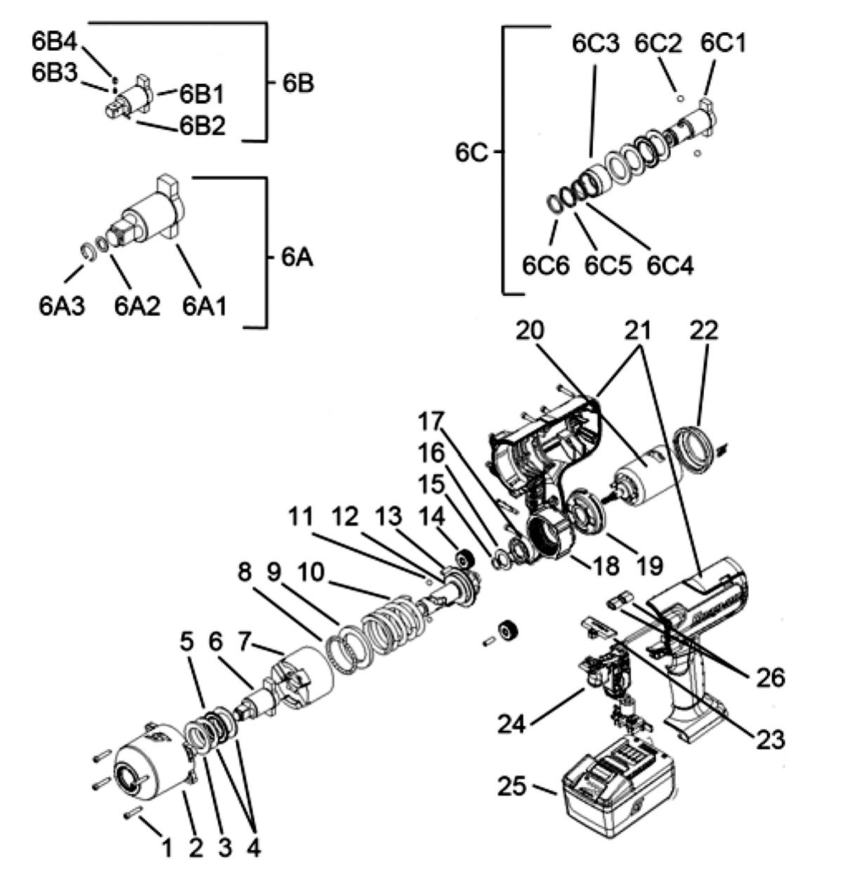 Impact Wrench, Cordless, Lithium, 18 Volt, 1/2