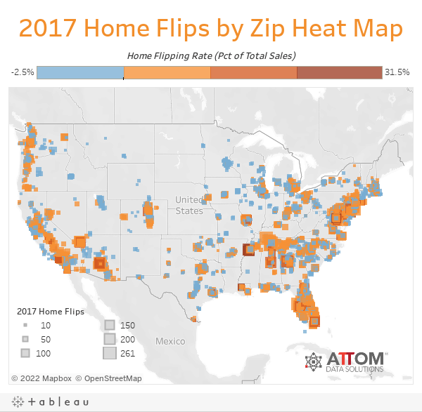 2017 Home Flips by Zip Heat Map