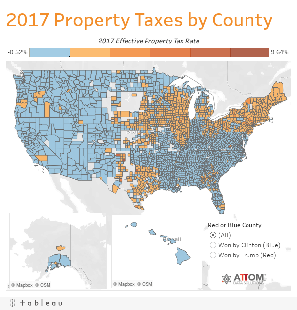 2017 Property Taxes by County