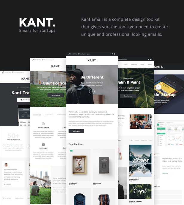 Kant - Responsive Email for Startups: 50+ Sections + MailChimp + Mailster + Shopify Notifications - 1