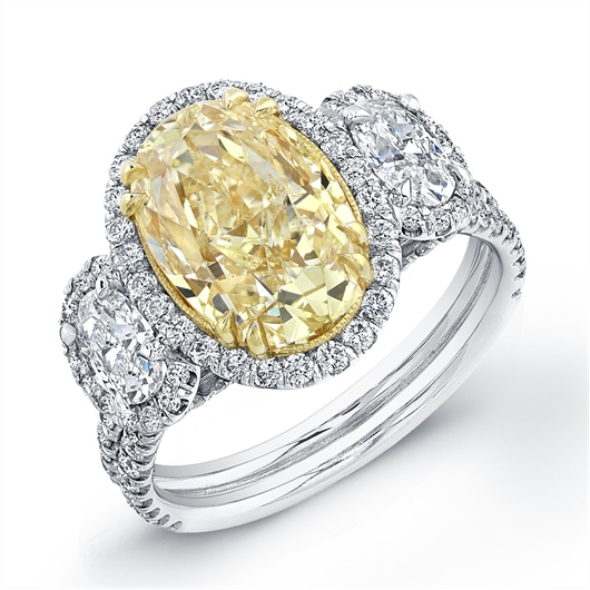 Ace Fancy Intense Yellow Oval Trilogy Ring