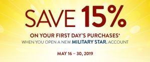 MILITARY STAR New Accounts 15% Off
