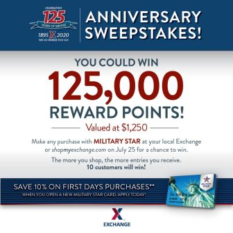Military Star giving away 125,000 rewards points