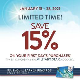 MilStar First Day Discount