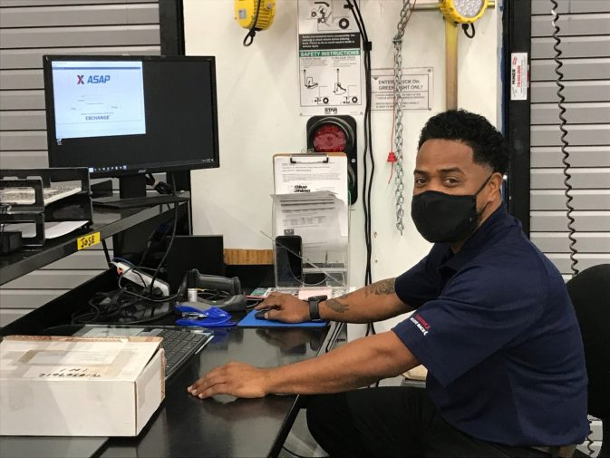 Shane Hollingshed, warehouse worker at the Joint Base San Antonio-Fort Sam Houston Exchange, is the Exchange's 49,000th Veteran or military spouse hire since 2013, bringing the Department of Defense retailer into the home stretch of its goal to hire 50,000 heroes.