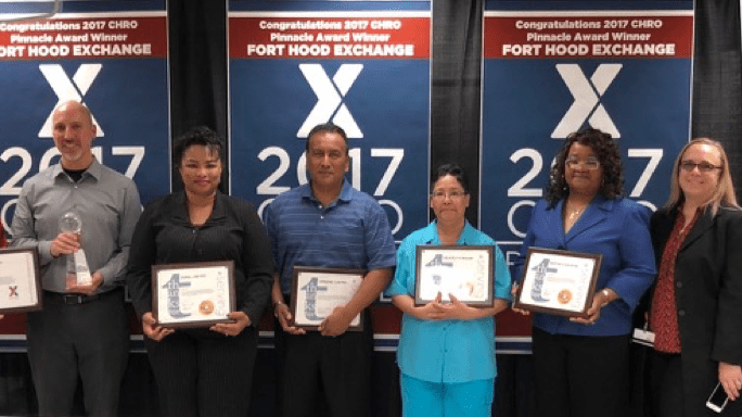 Left to right, r. Patrick Oldenburgh, Jr.,  Vice President, HR Operations; Joel Zepeda HR Manager; Dora Reyes, Dino Castro,  Beverly Moore, all HR administrators;  Arna Yarbrough, Director, CONUS Operations; Leigh Roop Executive Vice President and Chief HR Officer