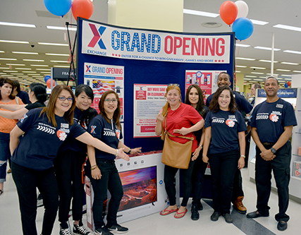 Associates at Yokota AB welcome customers to their newly renovated main store.