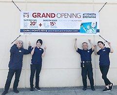 At the Fussa Express, Evelyn Yamaguchi, Arisa Aihara, Tsuyoshi Nagami and Miyuki Yabe celebrate the grand re-opening of the Yokota AB's main Exchange.