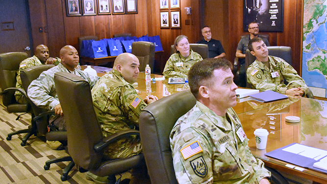 Soldiers and Airmen assigned to the Exchange HQ in Dallas learn about the Department of Defense's largest military retailer.