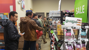 Customers at Fort Bragg's Old Glory Express stock up on supplies during Hurricane Florence.