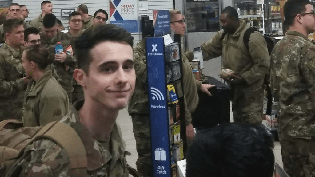 Troops, whose plane was stranded on the tarmac, come in from out of the cold to the Express for food and drinks.