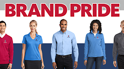 "Exchange associates wearing logo shirts under ""Brand Pride"" headline."