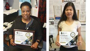 Two Exchange Logistics Directorate certificate winners.
