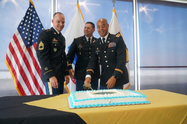 Sgt. 1st Class Tim Meyer, Col. Collin Fortier and Lt. Col. Joseph Batiste cut the cake at the Army & Air Force Exchange Service's Army birthday celebration June 14 at Exchange headquarters. The Exchange honored the sacrifices and innovation of Soldiers past, present and future in commemoration of the Army's 244th year.