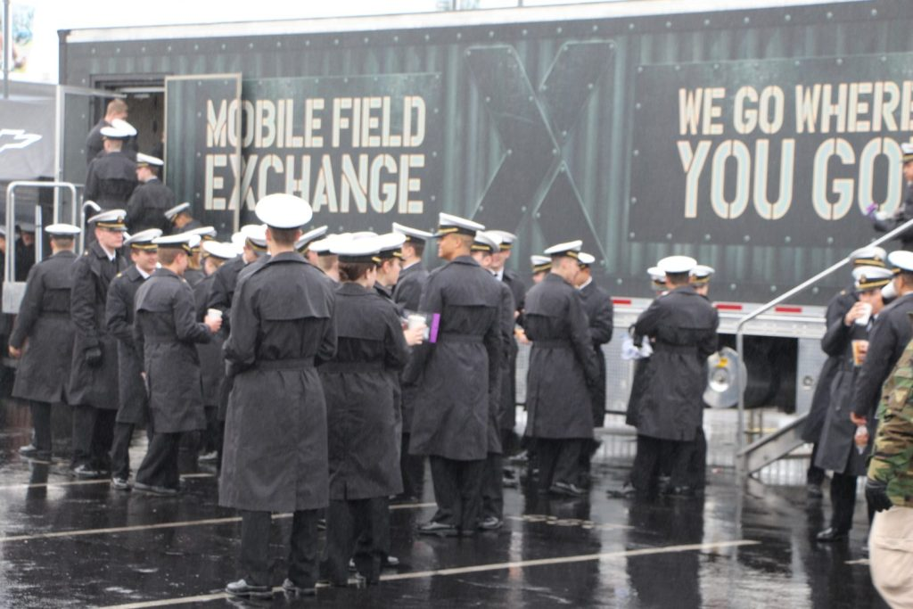 Midshipmen toured the mobile field exchange, taking advantage of a warm, dry location as well as the free snacks.