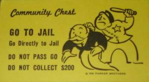 Image text reads 'community chest go to jail go directly to jail do not pass go do not collect 200 dollars . The image is a photo of a monopoly card. The purpose of the image is for use in O.W.B Public Affairs Article titledBest Practices For Issue Advocacy Using Ballot Measure Campaigns: Amendment 4 Lessons Learned, Florida Voting Rights Controversy