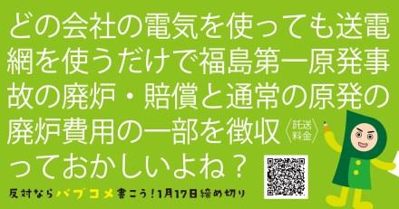 【1月17日まで】原発事故費用・廃炉費用- 東京電力が責任を取らないまま、国民負担でいいの??