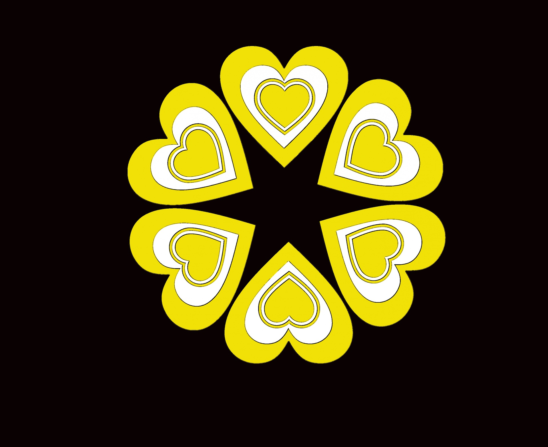 Yellow Hearts Black Background Free Stock Photo Public