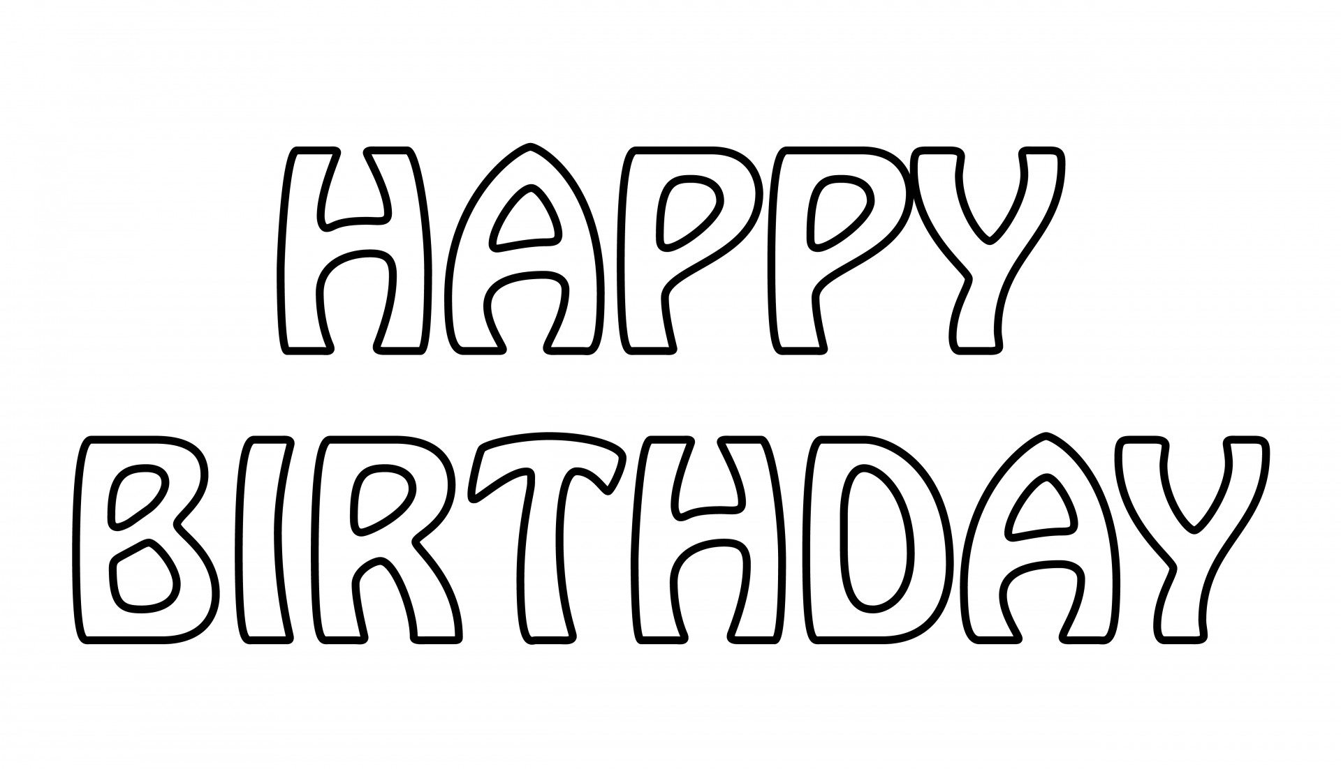 Happy Birthday Text Outline Free Stock Photo