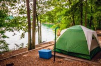 Tent By The Lake Free Stock Photo
