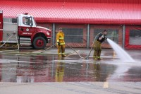 Fireman Hose Washing Firetruck Free Stock Photo - Public ...