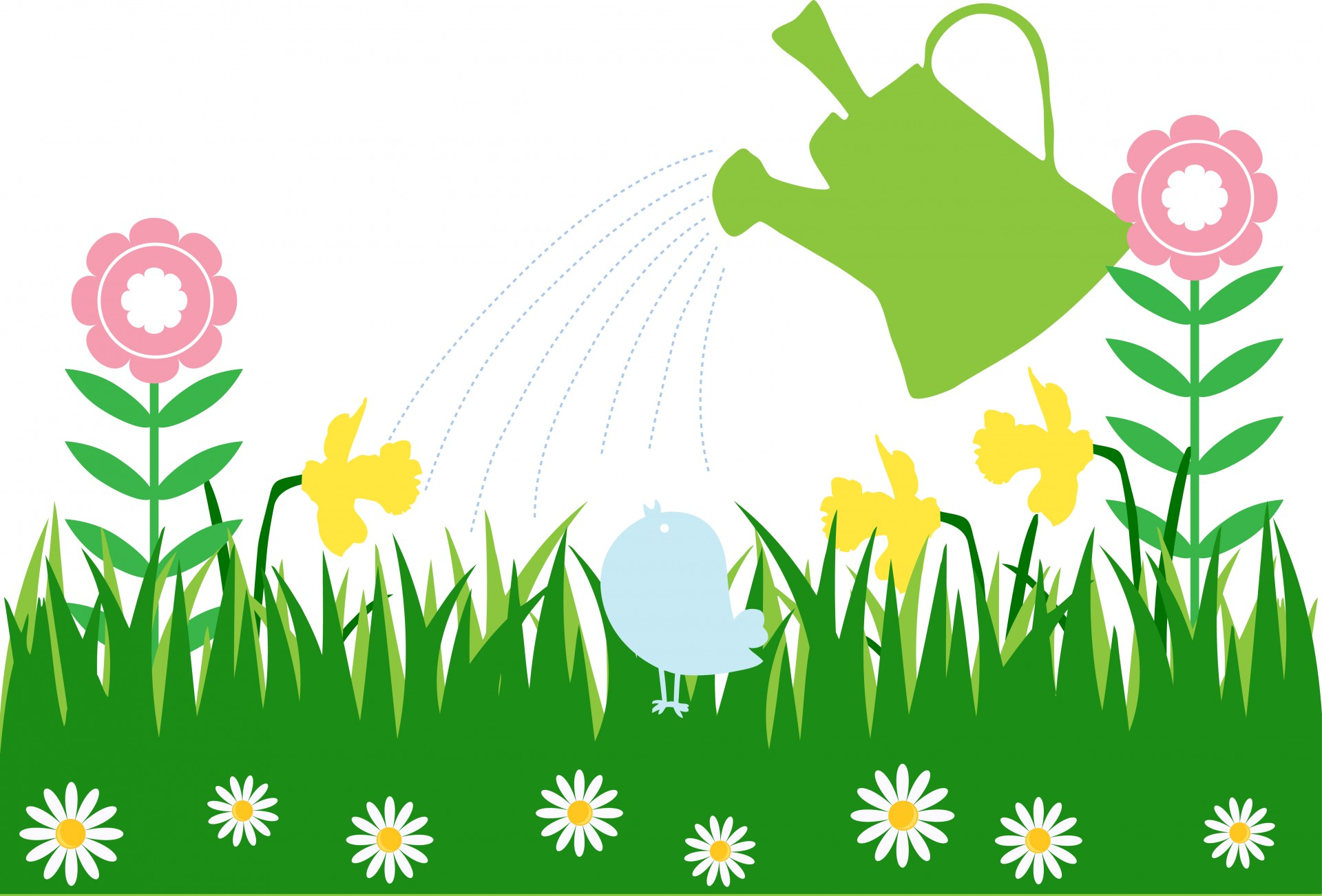 Flowers Garden Watering Can Free Stock Photo