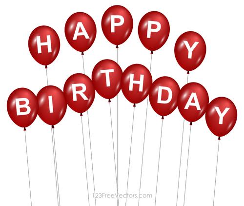 ballons rouge joyeux anniversaire