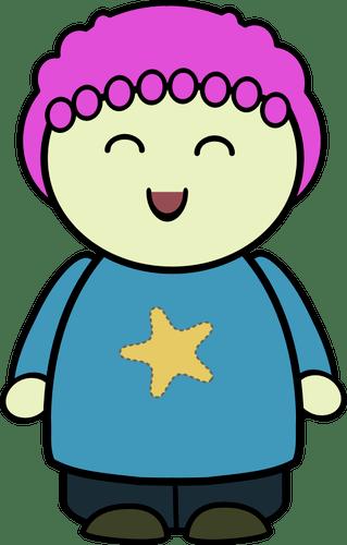 Gambar vektor bahagia gadis gemuk karakter  Domain publik