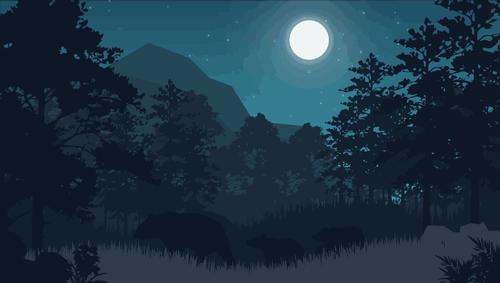 digital night forest illustration