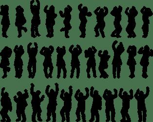 Happy people silhouette Public domain vectors