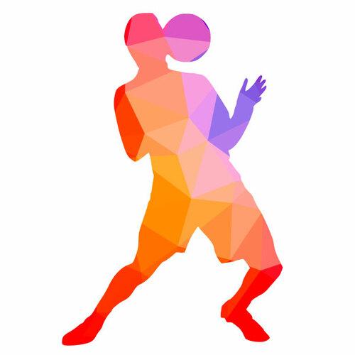Silhouette de couleur pour le joueur de football