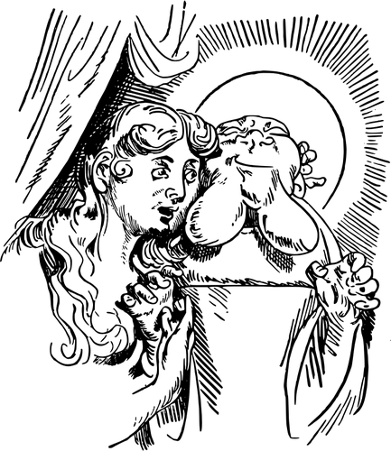 Saint Anthony of Padua and confused woman vector drawing