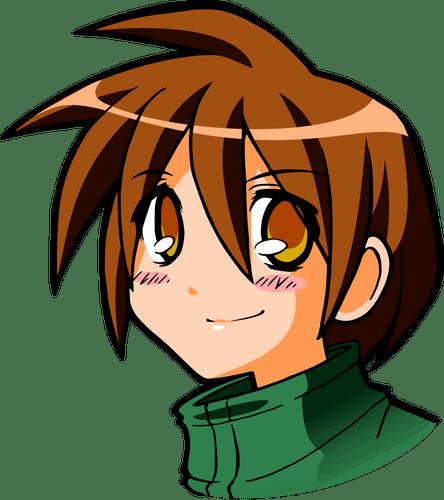 Manga kid head vector illustration
