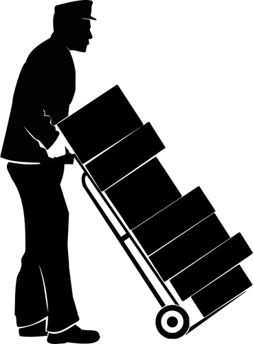 Hotel service staff pushing trolley with boxes vector