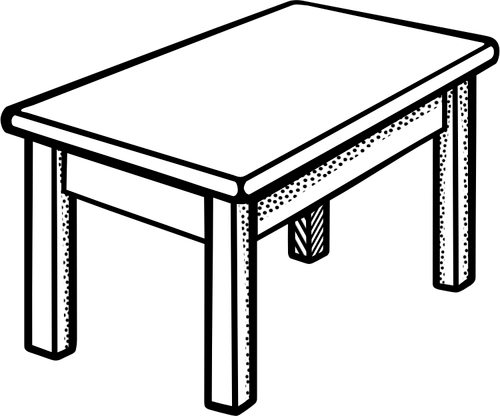 Vector image of simple rectangular shape table line art