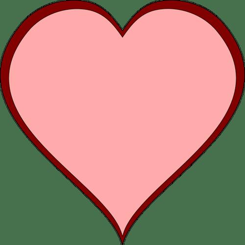 Coeur rose avec image vectorielle de rouge paisse ligne