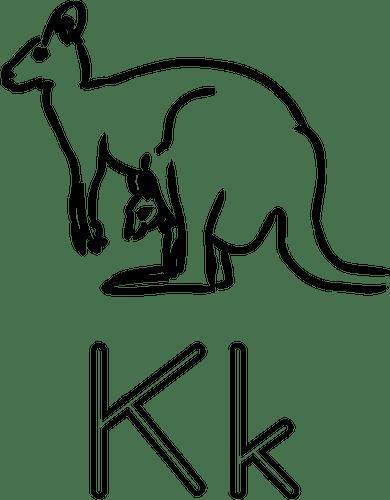 K is for Kangaroo alphabet learning guide illustration
