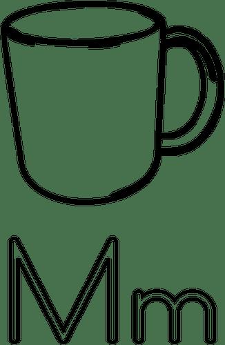 M est pour guide d'apprentissage de l'alphabet de Mug