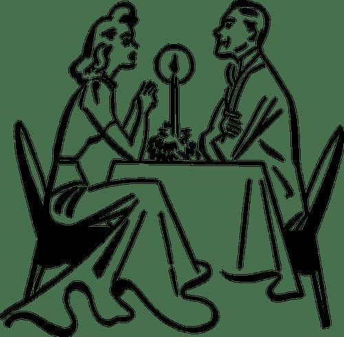 romantisches abendessen vektor-clipart
