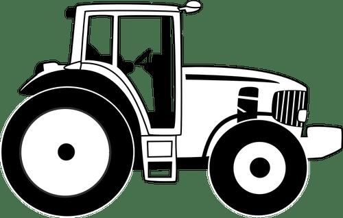 Vektorzeichnende Bauernhof Traktor in schwarz und weiß