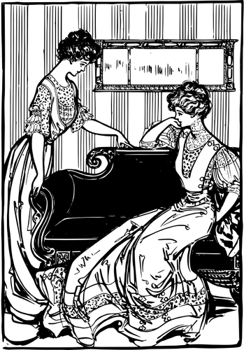 Vector graphics of two Victorian women in living room