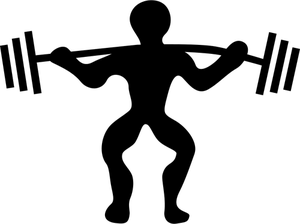 Vector silhouette of man powerlifting