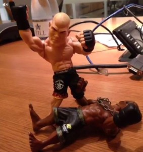Tito Ortiz uses his action figure to play out his fantasy of physically assaulting Blacks / African Americans