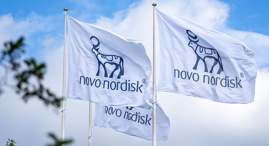 Flags with the Novo Nordisk logo