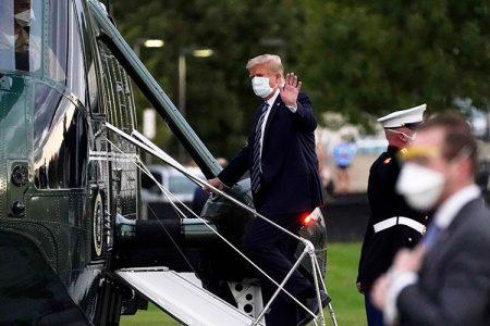 Donald Trump boarding an aircraft