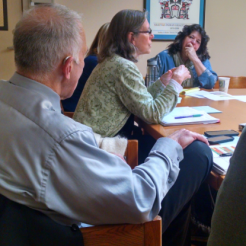 The King County Mental Health Integration Program (MHIP) Behavioral Health Managers meet regularly to strengthen implementation of integrated mental health services at community health centers. Pictured from left to right: Jerry DeGreick, Interim Deputy Director for Community Health Services Division; Debra Morrison, Neighborcare Health; and, Dawn Fabian, Country Doctor.