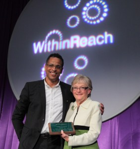 Dr. Ben Danielson  presents Patty Hayes with the Cynthia F. Shurtleff Leadership Award from WithinReach.